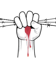 Clenched fist hand in blood with barbed wire vector