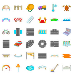 Concrete mixer icons set cartoon style vector