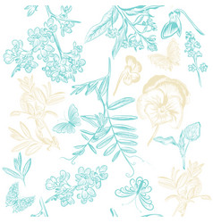 Cute seamless wallpaper pattern with flowers vector
