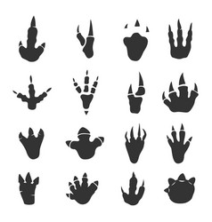 Dinosaur footprints collection on white vector
