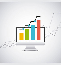 Economy growth desktop computer technology icon vector