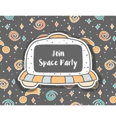 Hand drawn childish invitation with ufo in space vector