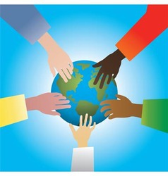 hands touching earth vector image vector image