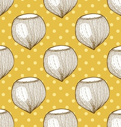 Hazelnut in vintage style vector image vector image