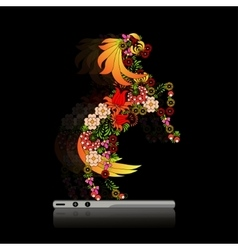 Horse in ukrainian traditional painting vector
