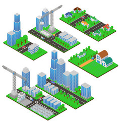 isometric buildings and building constructions vector image