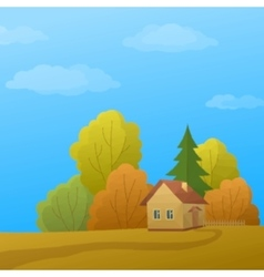 Landscape House in Autumn Forest Low Poly vector image vector image