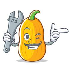 Mechanic butternut squash mascot cartoon vector