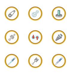 mechanical gear icons set cartoon style vector image