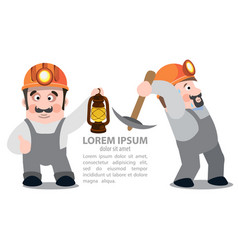 miners posing with a pickaxe and a kerosene lamp vector image