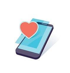 mobile heart vector image