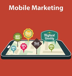 Mobile marketing and personalizing smartphone with vector