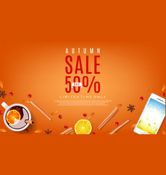 Orange web banner for autumn sale vector