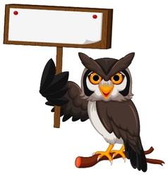 Owl cartoon holding blank board vector