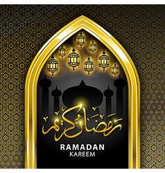 Ramadan greeting card on black background ramadan vector