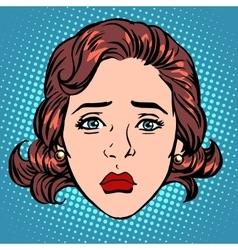 Retro emoji sadness woman face vector