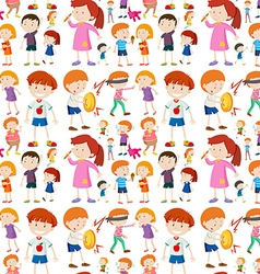 Seamless background design with kid characters vector image