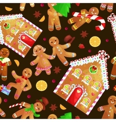 Seamless pattern christmas cookies gingerbread man vector