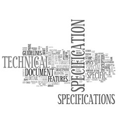 Specification word cloud concept vector
