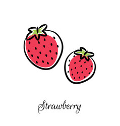 Strawberry line doodle icon vector