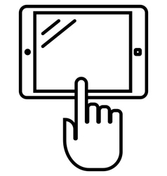 Tablet with hand outline icon vector image