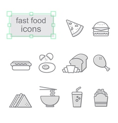 Thin line icons set Fast food vector image vector image