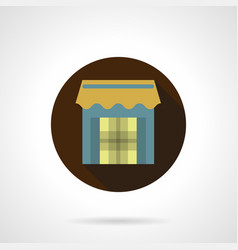 Trade stall flat brown round icon vector
