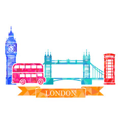 Traditional symbols of london in polygonal style vector
