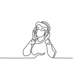 woman listening to music on headphones vector image vector image