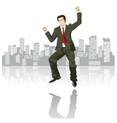 Happy businessman in the big city vector