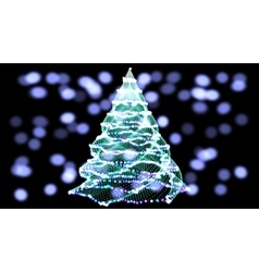 Abstract green christmas tree on black background vector