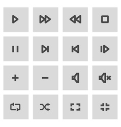 Line media player icons set vector