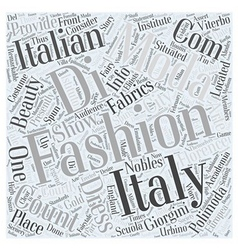Italian fashion design school word cloud concept vector