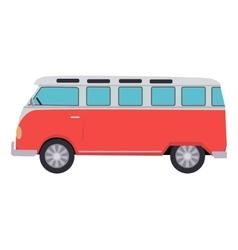 Retro travel red van vector