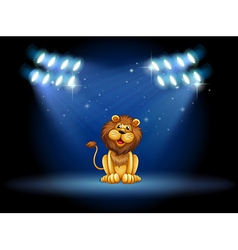 A stage with a lion at the center vector