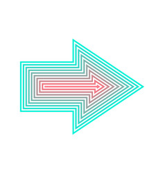 neon arrow isolated from red to turqoise vector image