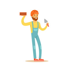 Smiling bricklayer wearing orange safety helmet vector
