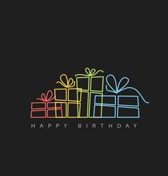 Dark happy birthday with presents vector