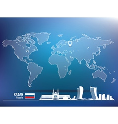 Map pin with Kazan skyline vector image
