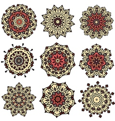 Set of yellow orange mandalas vector