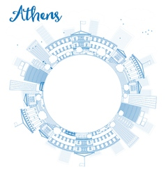Athens skyline with blue buildings vector