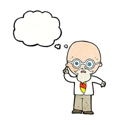 Cartoon professor with thought bubble vector