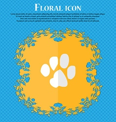Trace dogs floral flat design on a blue abstract vector