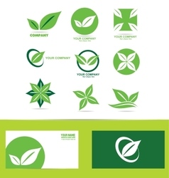 Green leafs logo icon set vector