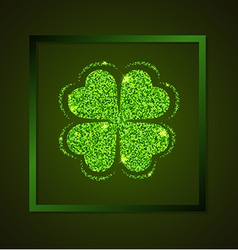 Four-leaf clover on a green background vector