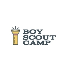 Boy scout camp logo design with typography and vector