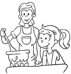 black and white mother and daughter vector image