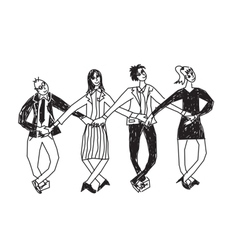 Business team dance presentation black and white vector image vector image
