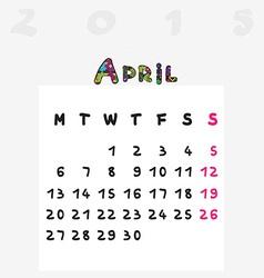 calendar 2015 april vector image vector image