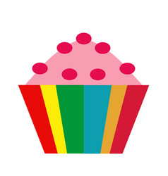 colorful cupcake icon flat cartoon style vector image